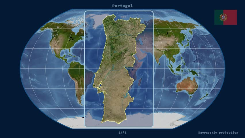 Zoomedin View Of A Portugal Outline With Perspective Lines - Portugal map satellite