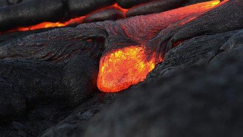 Closeup lava flow from Kilauea on the Big Island, Hawaii