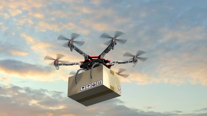 Drone Hexacopter delivers a package