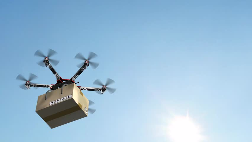 Drone Hexacopter delivers a package | Shutterstock HD Video #17977606