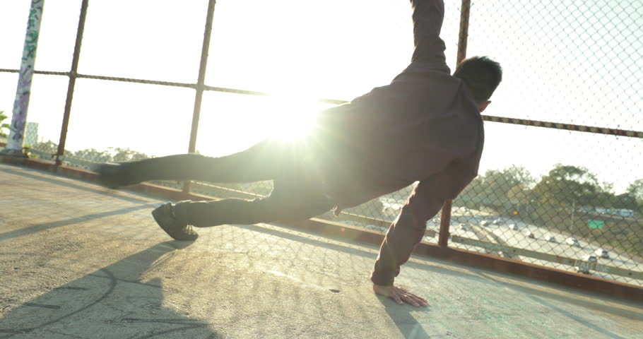 Young Man Breakdancing At Sunset  | Shutterstock HD Video #18004510