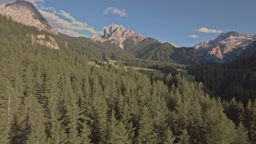 Drone aerial flying over a scenic mountain forests and fields in Dolomites, Italy Alps #18013756