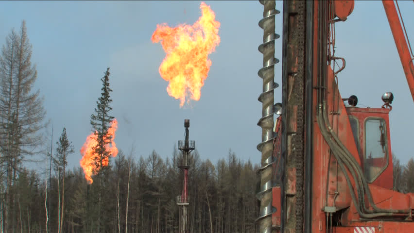 Torches oil and gas field