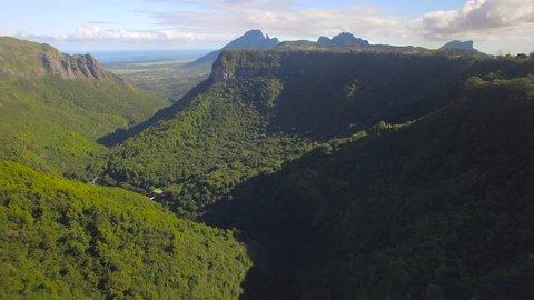 4K UHD Top down aerial video of Tamarin Falls Waterfall (Seven Cascades) - Mauritius, Curepipe, near Black River Gorge National Park