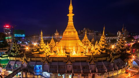 Sule Pagoda Landmark Ancient Pagoda Place Bright In Night Yangon Cityscape Time Lapse Of Yangon City, Myanmar (zoom out)