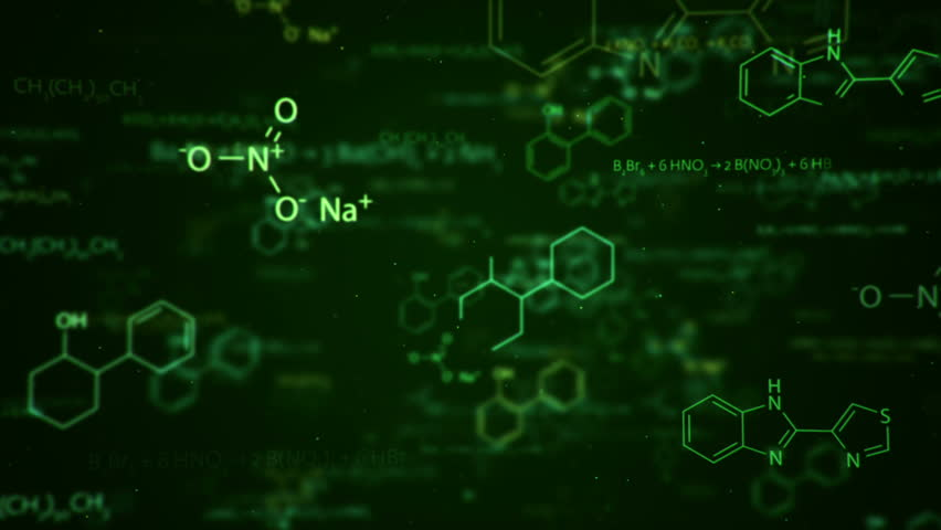Animation Of Typing Formulas Of Chemistry In Abstract