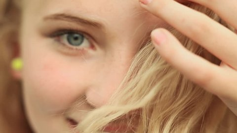 15 year-old girl's face closeup