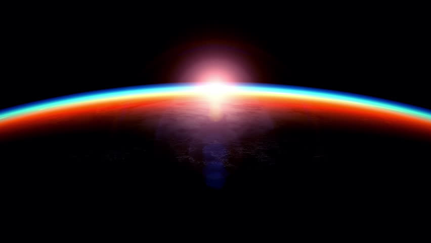 View of the sunrise from space, beautiful 3D animation. Texture of the Earth was created in the graphic editor without photos and other images.