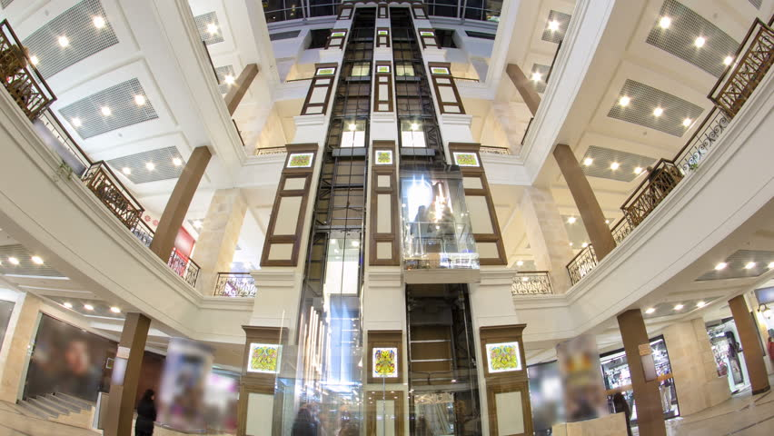 MOSCOW, RUSSIA - CIRCA SEPTEMBER 2015: Motion elevators at the modern shopping mall timelapse hyperlapse. a multi-storey shopping center | Shutterstock HD Video #18131236