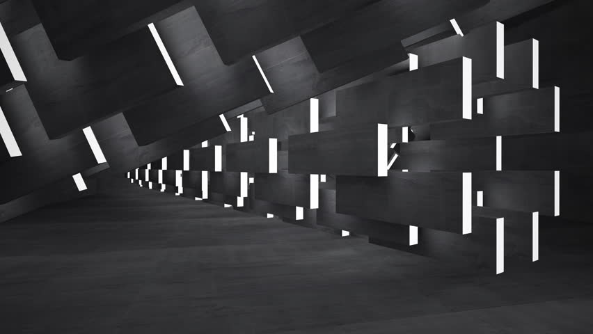 Empty dark abstract concrete room interior. Architectural background.. 3D animation. 3D rendering. Part 1