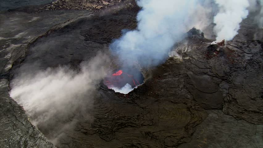 Aerial close up of lava inside vent, Kilauea Volcano, Big Island, Hawaii