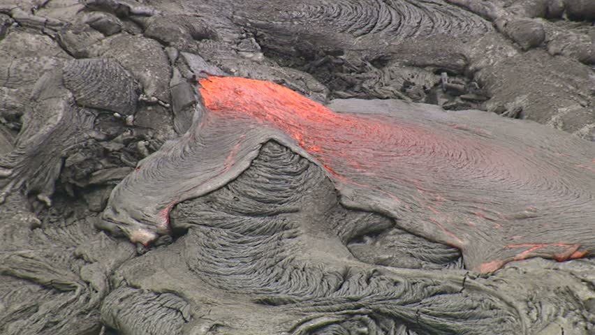 Lava flowing on slope of Mauna Loa, Hawaii