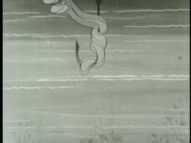 Worm on fishing hook with binoculars