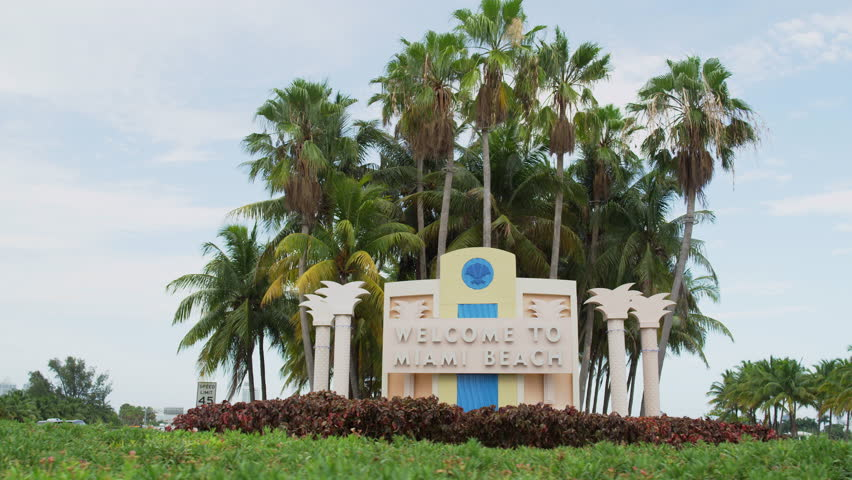 Aerial Miami Downtown Florida South Beach Welcome Sign Stock Video Footage