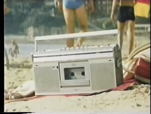 Close-up  boom box on the beach