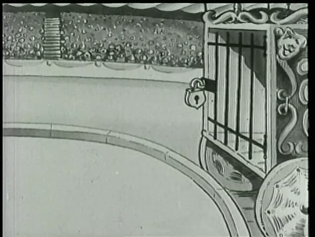 Cartoon of lion tamer bowing to caged lion at circus