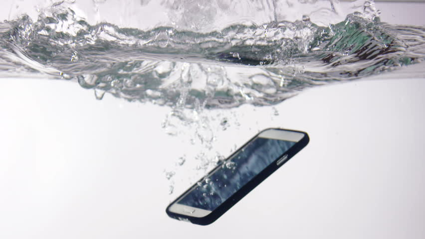 Smart phone with incoming call on display falling in water with splash on white background slow motion closeup | Shutterstock HD Video #18361372