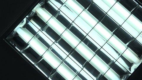 Interior neon lights turning on and off, modern office lighting equipment