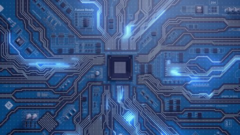 Seamlessly looping video of futuristic circuit board with moving electrons with CPU.