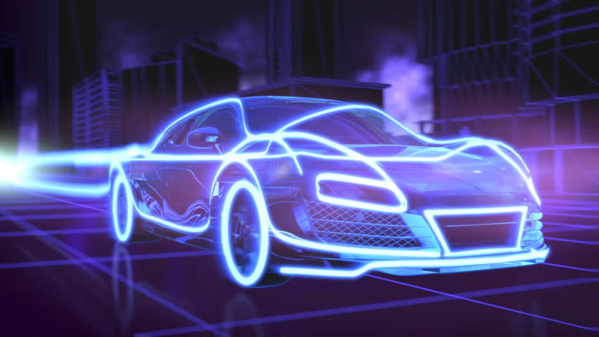 Abstract animation of a futuristic blue car in 4K UHD, cgi made with wireframes on an animated futuristic city background to highlight the automobile and it's technology and engineering | Shutterstock HD Video #18444895