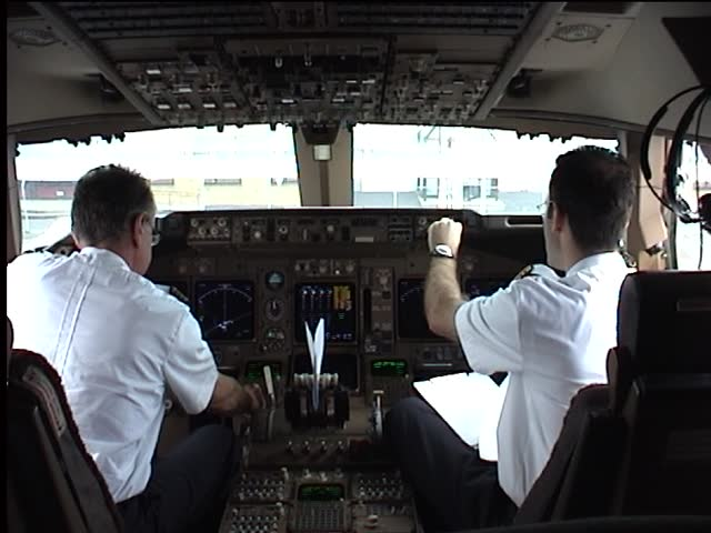 two pilots while flight preparation