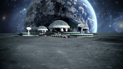 futuristic city, base, town on moon. The space view of the planet earth. 3d rendering