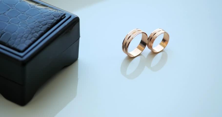 Wedding Diamond Gold Rings Engagement Rings White Table Stock