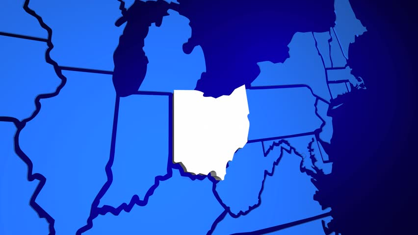 Ohio State Map USA United States America OH D Animation Stock - Ohio in map of usa