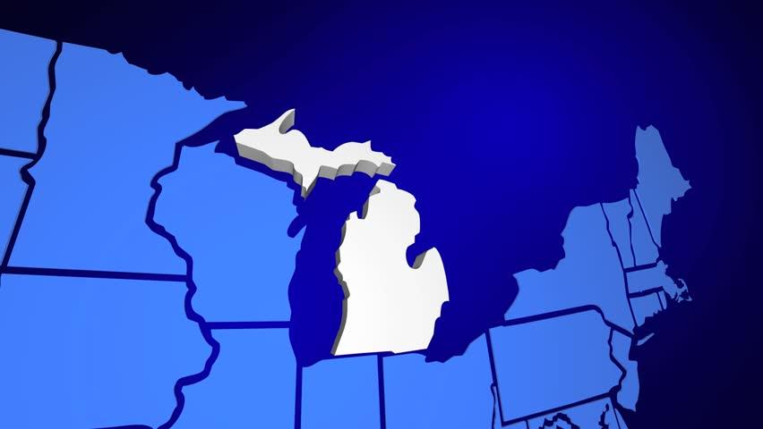 Michigan MI Animated State Map USA Zoom Close Up Stock Footage - Michigan on map of usa