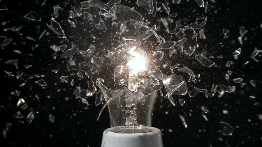 Glass Light Bulb Breaking in Super Slow Motion With Filament Smoke