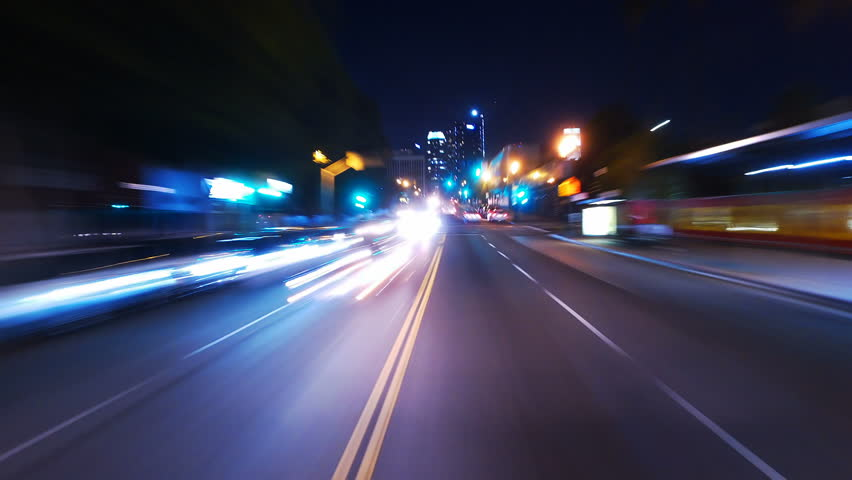 Hyperlapsed view from a car at night. POV. Hollywood, Los Angeles, United States. Perfect to represent concepts as autonomous driving, futuristic cityscape, city life, etc.   | Shutterstock HD Video #18561776