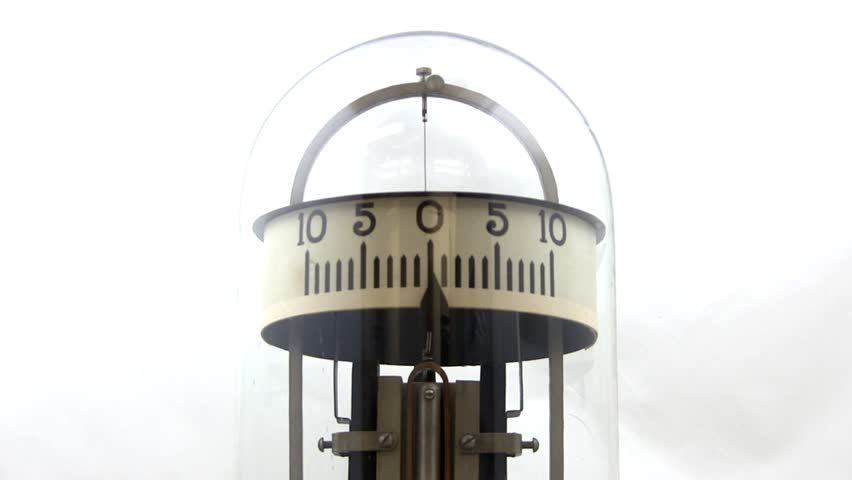 A vintage 1900 galvanometer used in physics lab to measure current with glass dome.  Close-up shot from slight low angle with white background.