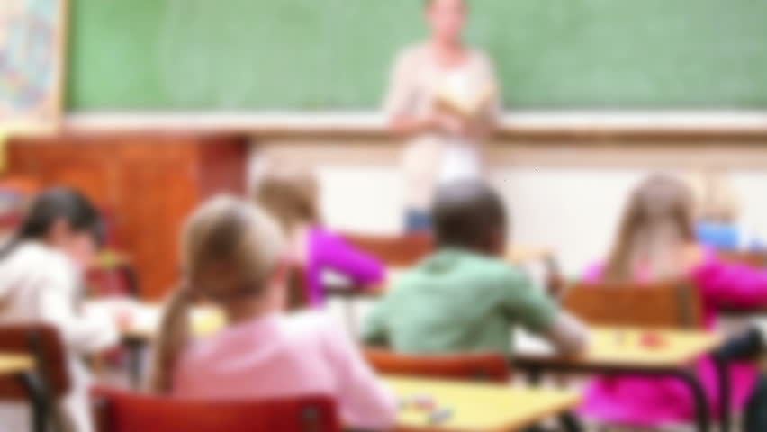 Back to school message surrounded by icons with teacher teaching childrens in the classroom   Shutterstock HD Video #18608069