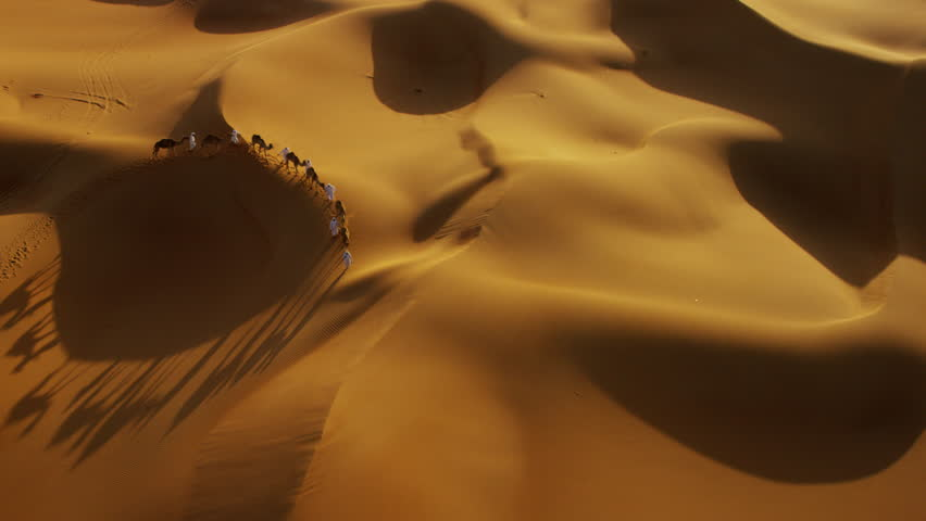 Aerial drone of camels being led by handlers across desert sand dunes | Shutterstock HD Video #18613910