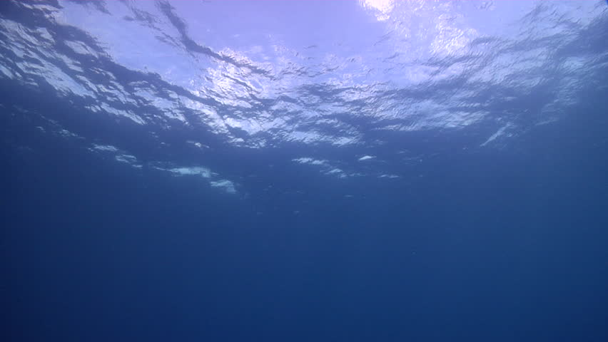 Ocean scenery looking up at calm seas and blue sky, with some clouds, in