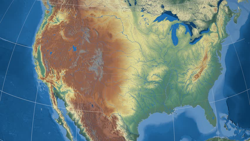 Michigan Region Extruded On The Relief Map Of United States Rivers And Lakes Shapes Added