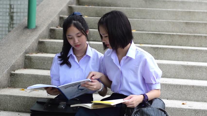 Cute Cheerful Asian Thai High Schoolgirls Student Couple -4042