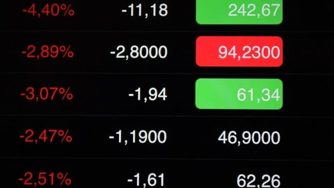 Stock market down. Stock tickers at the screen, negative value of abstract stock indicies.