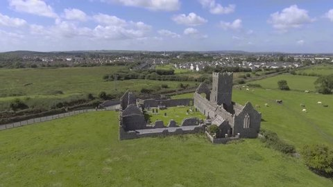 Aerial view ruins of Clare Abbey near Ennis, Co. Clare - Ireland . Public tourist attraction in Ennis.
