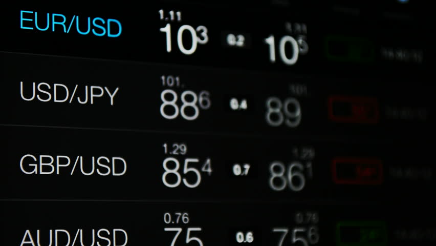 Currency exchange, forex rate board. Currency exchange rate of US Dollar, Euro, Pound, japan Yen, australian Dollar. World currency symbols. Business, financial markets, world economy background. | Shutterstock HD Video #18677534