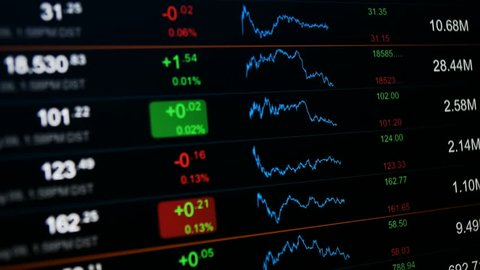 Stock exchange board. Abstract stock data and charts. Stock exchange concept, black background. Full HD 1080p high definition financial background.