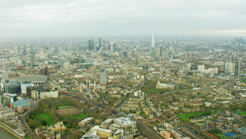 Aerial view of London Eye London England UK | Shutterstock HD Video #18715736