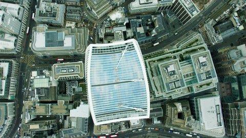 Aerial view overhead of the Walkie Talkie building London UK