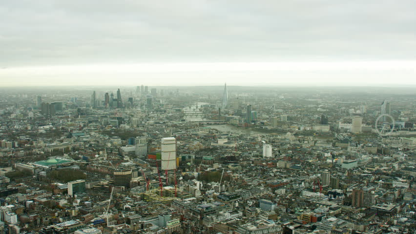 Aerial cityscape view over City of London UK | Shutterstock HD Video #18715856