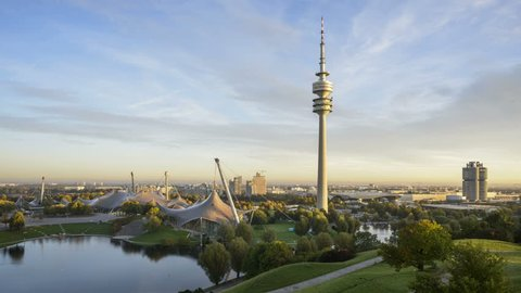 Olympic Park Munich with TV Tower, Munich, Germany - Full HD Night to Day Time lapse video