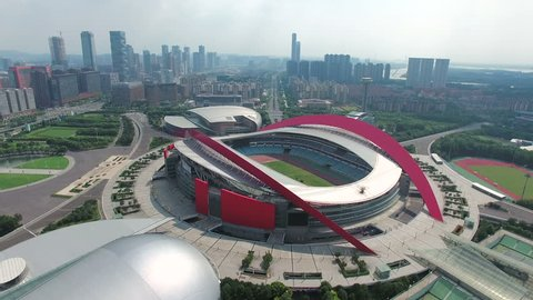 Aerial view of the city and the Olympic stadium of nanjing,China