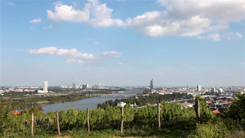 Time lapse Skyline danube valley vienna.