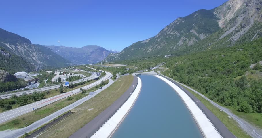 4K Aerial, Flying along Autoroute De La Maurienne, France - Native Material, straight out of the cam, watch also for the graded and stabilized version