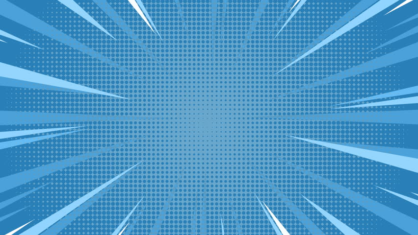 Animation of Comic speed radial on blue dotted background