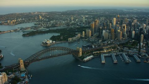 Sydney Australia - 2016: Aerial Opera House Harbour Harbor sunset Circular Quay Skyscraper Building Exterior outdoor travel tourism vacation Sail Cityscape RED DRAGON
